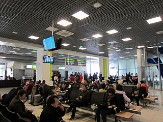 The waiting room in a clean zone of terminal A of airport Kyiv Zhulyany