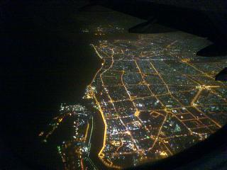 Night views of Dubai from the plane