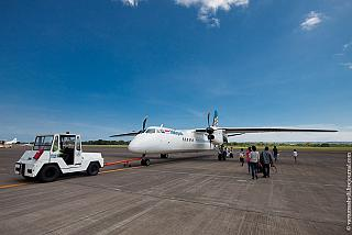 The Xian aircraft MA60 Merpati Nusantara airlines at the airport of Denpasar