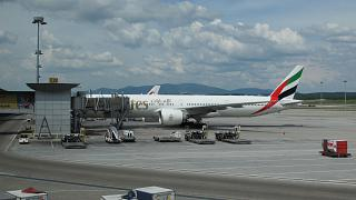 Boeing-777-300 Emirates airline at the airport in Kuala Lumpur