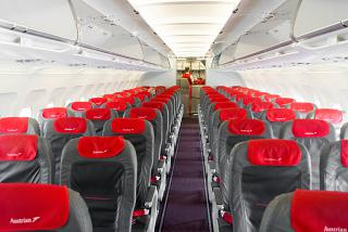 The passenger cabin of the Airbus A320 Austrian airlines