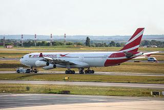 The Airbus A340-300 3B-NAY operated by Air Mauritius at the airport Paris Charles de Gaulle