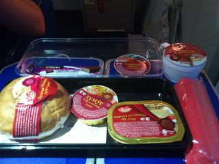 Food on the flight of the airline Aeroflot Kiev-Moscow