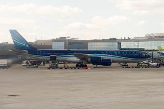 Airbus A340-500 авиакомпании AZAL в аэропорту Домодедово