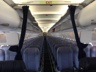 The passenger seats in the plane, an Airbus A320 Nordwind