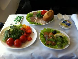 Питание  бизнес-класса на рейсе авиакомпании Трансаэро  Тюмень-Пафос