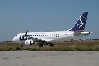 The Embraer 170 SP-LDE LOT airline at the airport of Kharkov