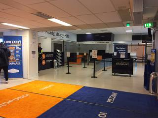 Check-in area at the airport of Lappeenranta