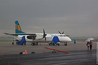 The plane MA-60 Merpati Nusantara airlines at the airport of Lombok