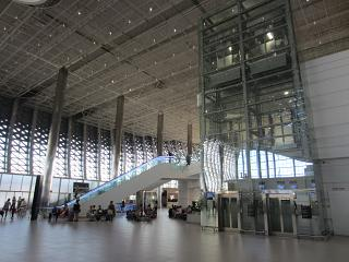 Elevators and escalators in the new passenger terminal of airport Simferopol