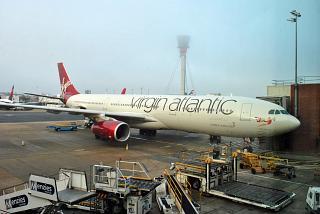 The Airbus A330-300 G-VUFO airline Virgin Atlantic in London Heathrow airport