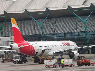 The Airbus A321 airline Iberia at Madrid-Barajas airport