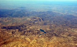 In the sky over Algeria. Reservoir Barage Beni Chaib.