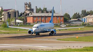 Boeing-737-800 of Pobeda airlines at the airport of Irkutsk