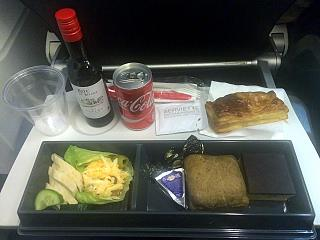In-flight meals on the flight Moscow-Paris Air France