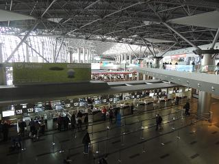 The check-in area in terminal A of Vnukovo airport