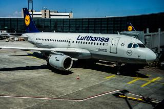 Airbus A319 of Lufthansa at Frankfurt airport