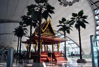 Installation in the form of a Buddhist temple in Bangkok airport Suvarnabhumi