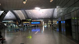 The reception area in the passenger terminal at Hamad airport