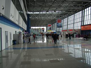 In the passenger terminal at the Knevichi airport in Vladivostok