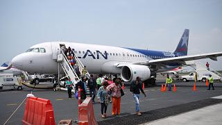 An Airbus A320 of LAN Colombia at Cartagena airport