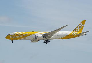 The Boeing 787-9 of Scoot airlines landed at Tokyo Narita airport