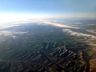 In flight over the Far East of Russia