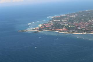 Views of the beaches of Bali during takeoff from the airport Denpasar Ngurah Rai international