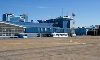 View of the terminal Irkutsk airport airside