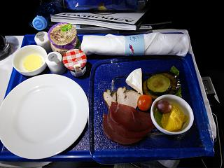 Cold snacks in the business class of Aeroflot flight from Moscow to Novosibirsk