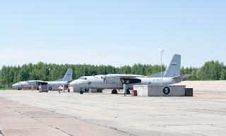 Aircraft an-26 military transport aviation of the Russian Federation at the airport Omsk-North
