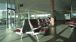 The waiting room in a sterile area of the airport is Lisbon Portela