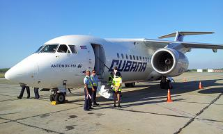 Antonov an-158 to Cubana airlines at the airport of Santiago de Cuba