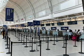 The reception area is Air Transat airline in terminal 3 of Toronto Pearson international airport