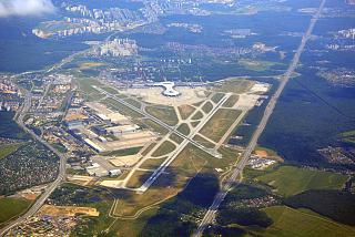 Top view of airport Moscow, Vnukovo after takeoff