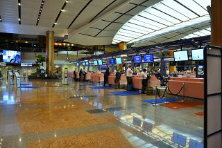Reception at terminal 2 of Changi airport in Singapore