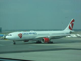 The Airbus A330-300 Czech airlines at Prague airport