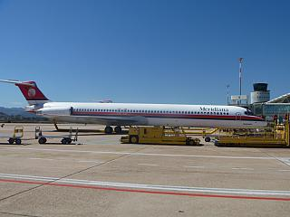 McDonnell Douglas MD-82 Meridiana airlines at the airport Olbia Costa Smeralda