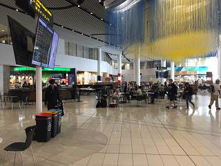 The food court is in the clear zone of the airport in Auckland, New Zealand