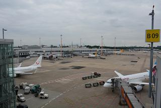 The platform of the airport of Dusseldorf
