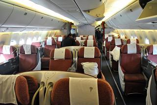The passenger cabin of the business class in the Boeing-767-300 of the airline LATAM Brasil