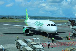 The Airbus A320 Citilink airlines at the airport of Denpasar