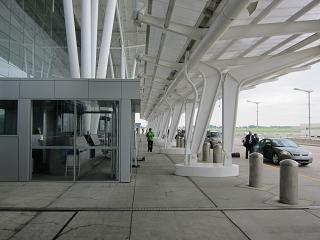 The entrance to the terminal of the Indianapolis international airport