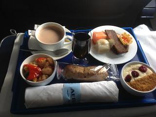 Питание бизнес-класса на рейсе Аэрофлота Калининград-Москва
