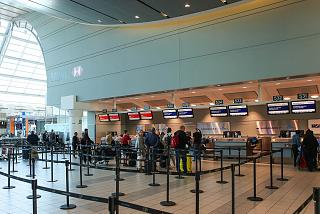 The reception area of Air France and KLM in terminal 3 of Toronto Pearson international airport