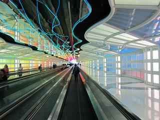 The transition in the arrivals area at the airport Chicago O'hare