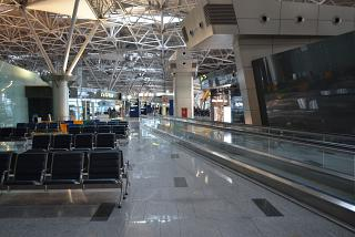 Net in the domestic departures area of terminal A of Vnukovo airport