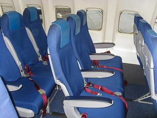 The passenger seats on the Boeing-737-800 KLM