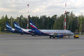 Sukhoi Superjet 100 of Aeroflot with the emblem of CSKA Moscow in Sheremetyevo airport