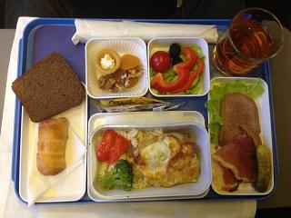"""Food business class on the flight Arkhangelsk-Moscow airlines """"Nordavia"""""""